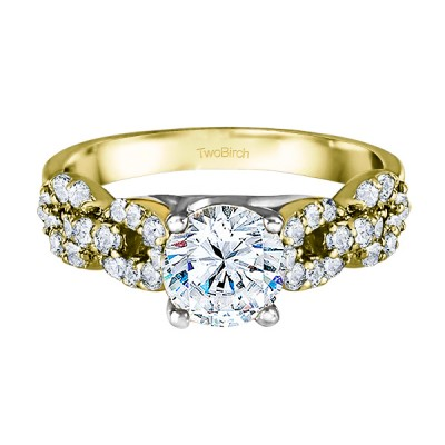 1.51 Ct. Round Infinity Engagement Ring in Two Tone Gold