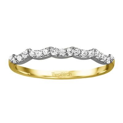 0.255 Carat Scalloped Edge Matching Wedding Ring