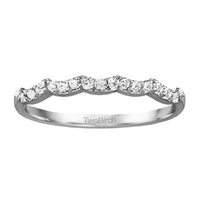 0.255 Carat Scalloped Edge Matching Wedding Ring
