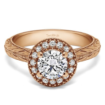 1.16 Ct. Round Halo Vintage Knife Edged Shank Engagement Ring in Rose Gold
