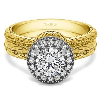 Round Vintage Knife Edged Halo Engagement Ring Bridal Set (2 Rings) (1.16 Ct. Twt.)
