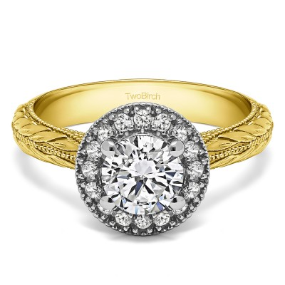 1.16 Ct. Round Halo Vintage Knife Edged Shank Engagement Ring in Two Tone Gold