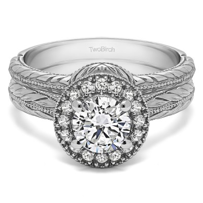 Round Vintage Knife Edged Halo Engagement Ring Bridal Set (2 Rings) (1.16 Ct. Twt.)