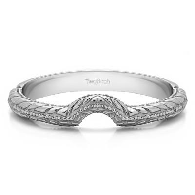 Plain Vintage Engraved Notched Matching Wedding Ring