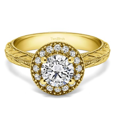 1.16 Ct. Round Halo Vintage Knife Edged Shank Engagement Ring in Yellow Gold