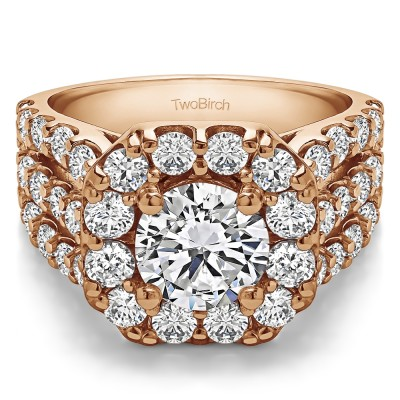 4.19 Ct. Large Round Halo Engagement Ring in Rose Gold