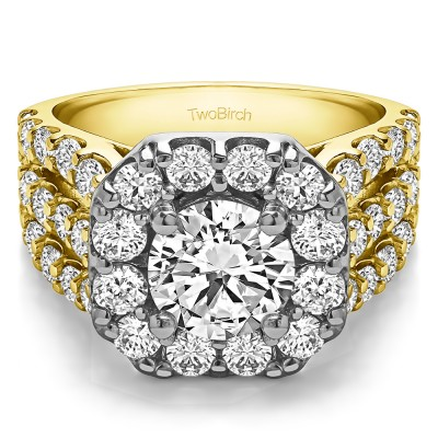 4.19 Ct. Large Round Halo Engagement Ring in Two Tone Gold
