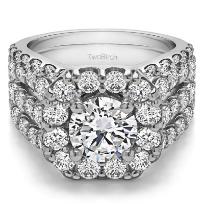 Round Large Halo Bridal Set with Engagement Ring Bridal Set (2 Rings) (4.49 Ct. Twt.)