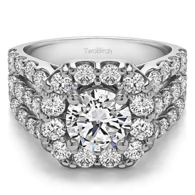 4.19 Ct. Large Round Halo Engagement Ring