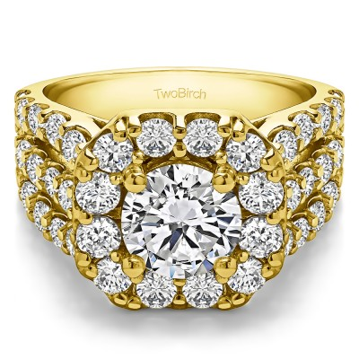 4.19 Ct. Large Round Halo Engagement Ring in Yellow Gold