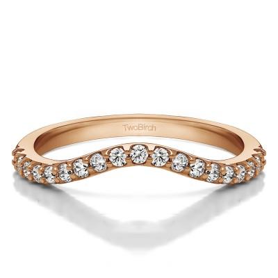 0.285 Carat Contoured Matching Wedding Ring for Halo Engagement Ring