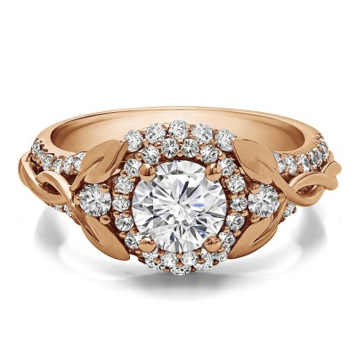 1.81 Ct. Round Halo Infinity Braid Engagement Ring in Rose Gold
