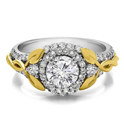 1.81 Ct. Round Halo Infinity Braid Engagement Ring in Two Tone Gold