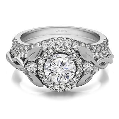 Round Infinity Braid Engagement Ring Bridal Set (2 Rings)(2.1 Ct. TWT)