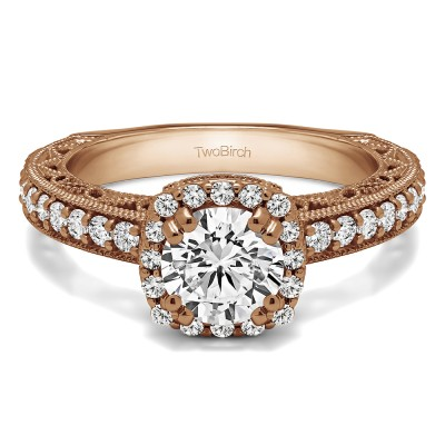 1.54 Ct. Round Halo Engagement Ring with Filigree Design in Rose Gold