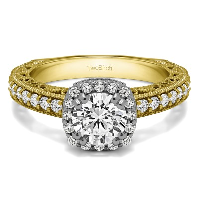 1.54 Ct. Round Halo Engagement Ring with Filigree Design in Two Tone Gold