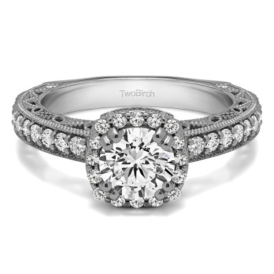 1.54 Ct. Round Halo Engagement Ring with Filigree Design