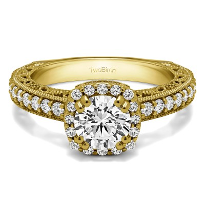 1.54 Ct. Round Halo Engagement Ring with Filigree Design in Yellow Gold