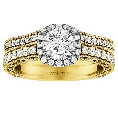 Round Vintage Engagement Ring Bridal Set (2 Rings) (1.78 Ct. Twt.)