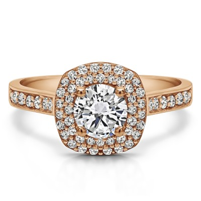 1.2 Ct. Double Halo Round Cathedral Engagement Ring in Rose Gold