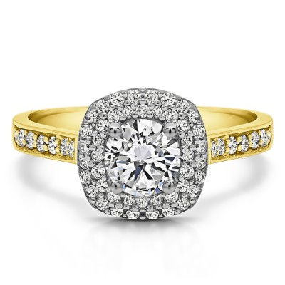 1.2 Ct. Double Halo Round Cathedral Engagement Ring in Two Tone Gold