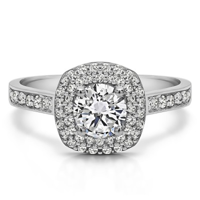 1.2 Ct. Double Halo Round Cathedral Engagement Ring