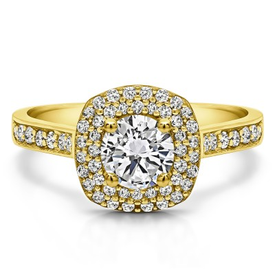 1.2 Ct. Double Halo Round Cathedral Engagement Ring in Yellow Gold