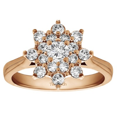 0.81 Ct. Round Flower Center Cathedral Engagement Ring in Rose Gold