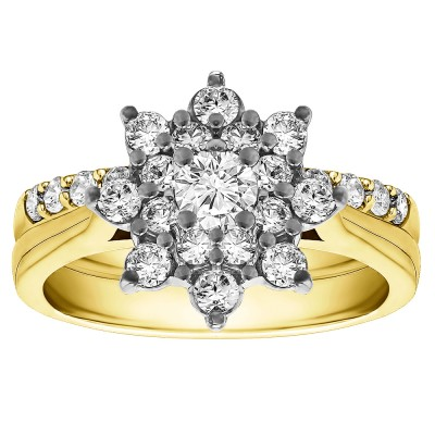 Cathedral Flower Engagement Ring Bridal Set (2 Rings) (1.14 Ct. Twt.)