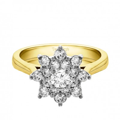 0.81 Ct. Round Flower Center Cathedral Engagement Ring in Two Tone Gold