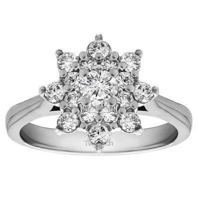 0.81 Ct. Round Flower Center Cathedral Engagement Ring