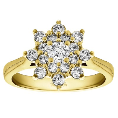 0.81 Ct. Round Flower Center Cathedral Engagement Ring in Yellow Gold