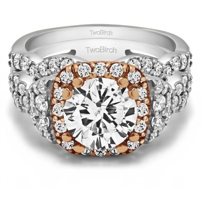 Round Large Halo Infinity Engagement Ring Bridal Set (2 Rings)(2.77 Ct. Twt.)