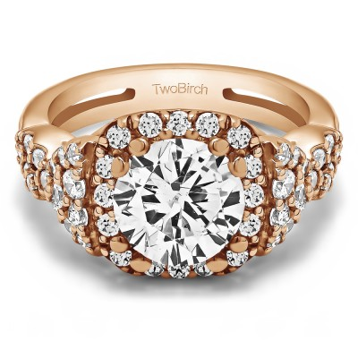 2.5 Ct. Large Halo Engagement Ring with Infinity Shank in Rose Gold