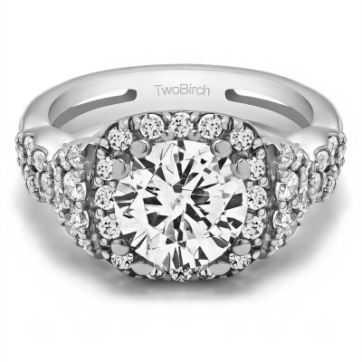 2.5 Ct. Large Halo Engagement Ring with Infinity Shank