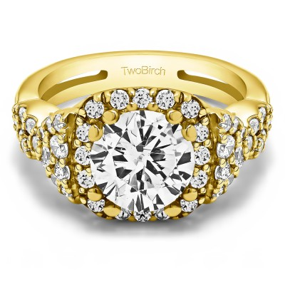 2.5 Ct. Large Halo Engagement Ring with Infinity Shank in Yellow Gold