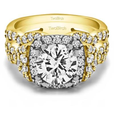 Round Large Halo Infinity Engagement Ring Bridal Set (2 Rings) (2.77 Ct. Twt.)