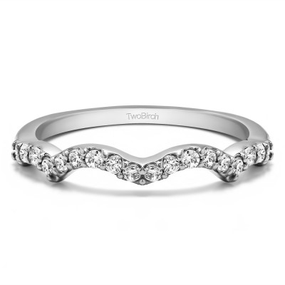 0.27 Carat Scalloped Edge Matching Wedding Ring