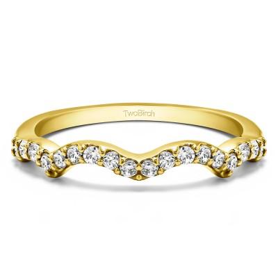 0.27 Carat Scalloped Edge Matching Wedding Ring