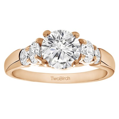 1.74 Ct. Round Graduated Cathedral Engagement Ring in Rose Gold
