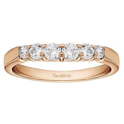 0.42 Carat Shared Prong Matching Wedding Ring