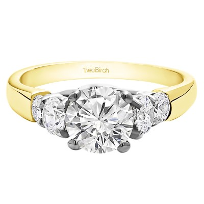 1.74 Ct. Round Graduated Cathedral Engagement Ring in Two Tone Gold