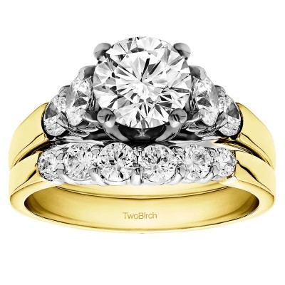 Round Cathedral Engagement Ring Bridal Set (2 Rings) (2.16 Ct. Twt.)