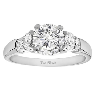 1.74 Ct. Round Graduated Cathedral Engagement Ring