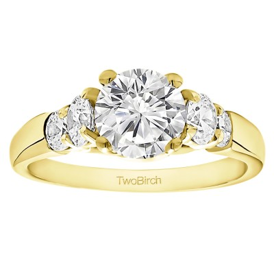 1.74 Ct. Round Graduated Cathedral Engagement Ring in Yellow Gold