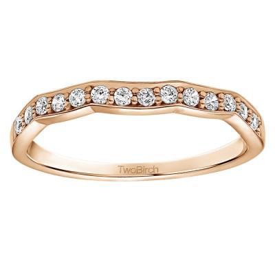 0.21 Carat Scalloped Edge Matching Wedding Ring