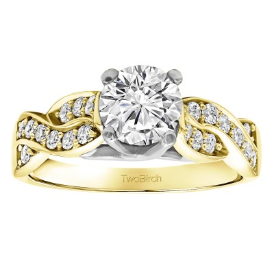 1.35 Ct. Round Infinity Engagement Ring in Two Tone Gold