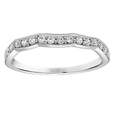 0.21 Carat Scalloped Edge Matching Wedding Ring