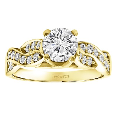 1.35 Ct. Round Infinity Engagement Ring in Yellow Gold