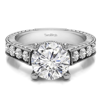 3.7 Ct. Round Vintage Engagement Ring with Millgraining